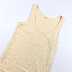 Nude Blush Pink Sequined J Crew Tank